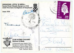 1978 Spedizione CITTA' DI MEDA Ande Peruviane - Cartolina AUTOGRAFI alpinisti