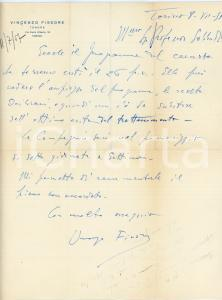 1957 TORINO Tenore Vincenzo FISSORE - Lettera per concerto - AUTOGRAFO
