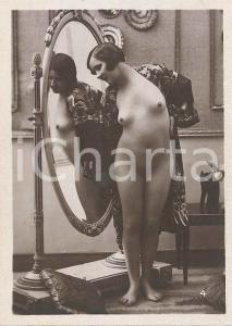 1930 ca EROTICA VINTAGE Nude woman in the mirror - Photo 6x9 cm