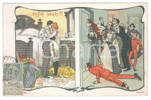 1901 FRANCE HUMOUR - LOVERS - Enfin seuls!! - Old postcard