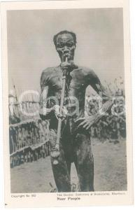 1920 ca SOUTH SUDAN Nuer people - Indigenous smoking a pipe  - Postcard FP NV