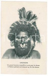 1920 ca PAPUA NEW GUINEA Native painted ad dressed up fo the dande - Postcard FP