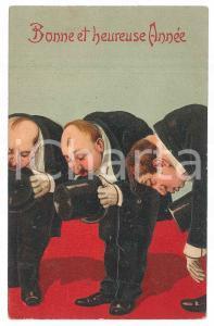 1910 ca BONNE ANNEE People bowing - Embossed old postcard