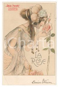 1904 ART NOUVEAU Chocolat GALA PETER - La Rose - Carte Postale