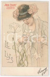 1904 ART NOUVEAU Chocolat GALA PETER - Le Lys - Carte Postale