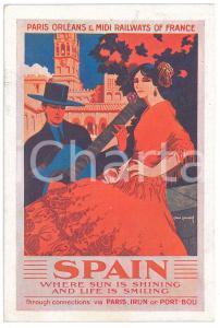 1929 PARIS ORLEANS - MIDI RAILWAYS Spain - Ill. René ROUSSEL Carte Postale