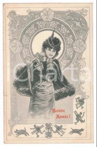 1903 ART NOUVEAU BELGIUM - Bonne Année - Lady - Four-leaf clover *Postcard
