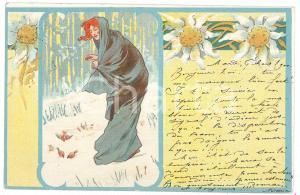 1900 ART NOUVEAU BELGIQUE Lady feeding sparrows in the snow *Postcard