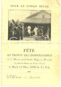 1928 LIEGE Fête au profit de la Mission Protestante Belge au RUANDA *Invitation
