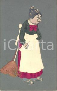1922 BELGIUM Woman with a broom - Postcard collage REAL CLOTH