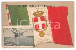 1912 VIVA TRIPOLI ITALIANA Marinaio sventola Tricolore - Cartolina FP VG