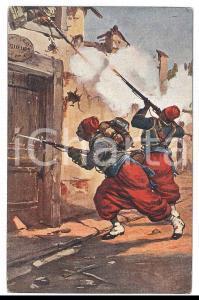 1912 GUERRA ITALO-TURCA Assalto di zuavi - Cartolina ILLUSTRATA FP NV
