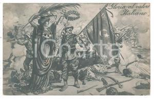1916 GUERRA ITALO-TURCA Gloria al valore italiano - Cartolina ILLUSTRATA FP VG