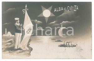 1911 GUERRA ITALO-TURCA Alba di civiltà - Marinaio con Tricolore - Cartolina FP
