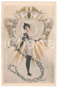 1900 ca ART NOUVEAU BELGIUM -  Nude lady with chain - Postcard A. DOUHIN risque