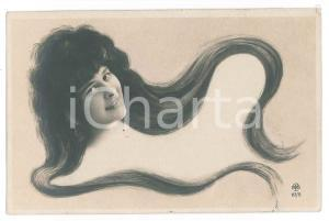 1902 ART NOUVEAU Lady with long hair - Old postcard