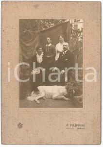 1916 GENOVA Ritratto di famiglia con cane - Foto F. FILIPPINI 16x23 cm