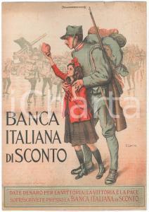 1917 Artista Enrico LIONNE Banca Italiana di sconto - Pannello pubblicitario