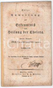 1831 BERLIN Kurze Unmeisung zur Erkenntnis und Heilung der Cholera