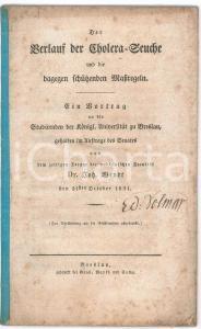 1831 Johann WENDT Verlauf der Cholera-Seuche und dagegen schützenden Maßregeln