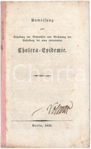 1831 BERLIN Anweisung zur Erhaltung der Gesuảdheit - Cholera-Epidemie