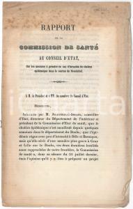 1854 SUISSE Canton NEUCHÂTEL - Commission de Santé - Mesures en cas de choléra