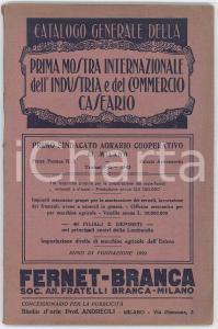 1924 MILANO 1^ Mostra Internazionale Industria e Commercio Caseario - Catalogo