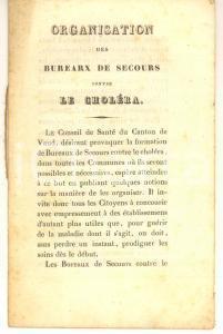 1832 SUISSE Organisation des Bureaux de Secours contre le Choléra - 11 pp.