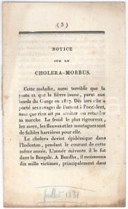 1831 CONVERS Fils - Notice sur le choléra-morbus - 14 pp.