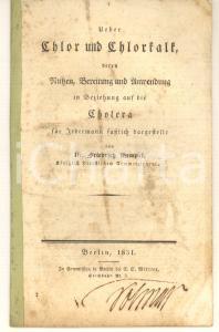 1831 Friedrich HEMPEL Ueber Chlor und Chorkalk in Beziehung auf die Cholera