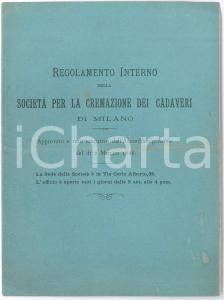 1886 MILANO Società per la Cremazione dei Cadaveri - Regolamento 8 pp.