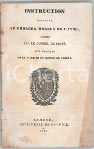 1831 GENEVE (SUISSE) Instruction relative au choléra morbus de l'Inde - 18 pp.