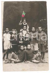1920 ca ITALIA Gruppo di bambini con il tricolore - Cartolina PATRIOTTICA