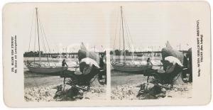 1890 ca GERMANY Bilder vom Strande - Landungsbrucke *Stereoview 278