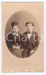 1870 ca. PIACENZA - Ritratto di giovane coppia di sposi - Foto Fratelli GREGORI