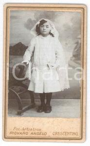 1870 ca. CRESCENTINO - Ritratto di bambina Prima Comunione *Foto PIOVANO CDV (1)