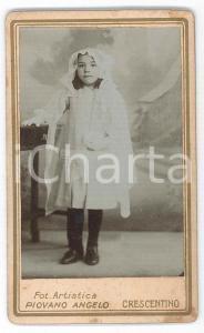 1870 ca. CRESCENTINO - Ritratto di bambina Prima Comunione *Foto PIOVANO CDV (2)