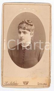 1870 ca. LUGANO - Ritratto di giovane donna in abito scuro *Foto SOLZA CDV