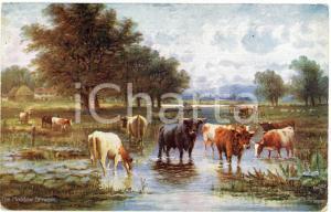 1920 ca Artist R.F. McINTYRE Meadow stream Postcard HAPPY ENGLAND Serie III 9470