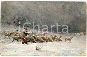 1920 ca FRANCE Shepherd in the snow with flock of sheep ILLUSTRATED Postcard