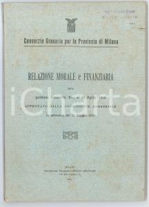 1918 MILANO Consorzio granario - Relazione morale e finanziaria