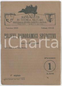 1933 Curzio ROMANO Rilievi panoramici speditivi MANUALETTI DI TECNICA MILITARE