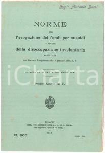 1919 Norme erogazione sussidi per disoccupazione volontaria - Pubblicazione