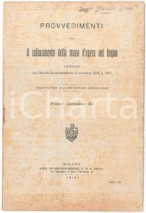 1919 REGNO D'ITALIA Provvedimenti per collocamento mano d'opera - Pubblicazione