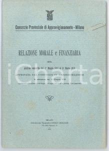 1919 MILANO Consorzio di approvvigionamento - Relazione morale e finanziaria