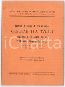 1920 ca TORINO Regia Accademia di Artiglieria - Tavola di tiro obice da 75/13