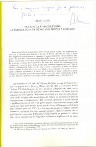 2000 Hilary GATTI Tra magia e magnetismo Giordano Bruno - Invio autografo