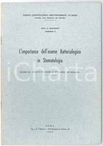 1957 Luciano SGARZINI Esame batteriologico in stomatologia - Estratto