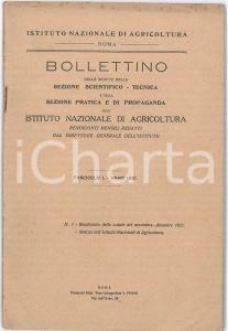 1921 ROMA Istituto Nazionale Agricoltura - Resoconto inaugurazione - Bollettino