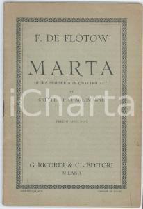 1929 F. DE FLOTOW - Marta - Opera semiseria - Ed. RICORDI
